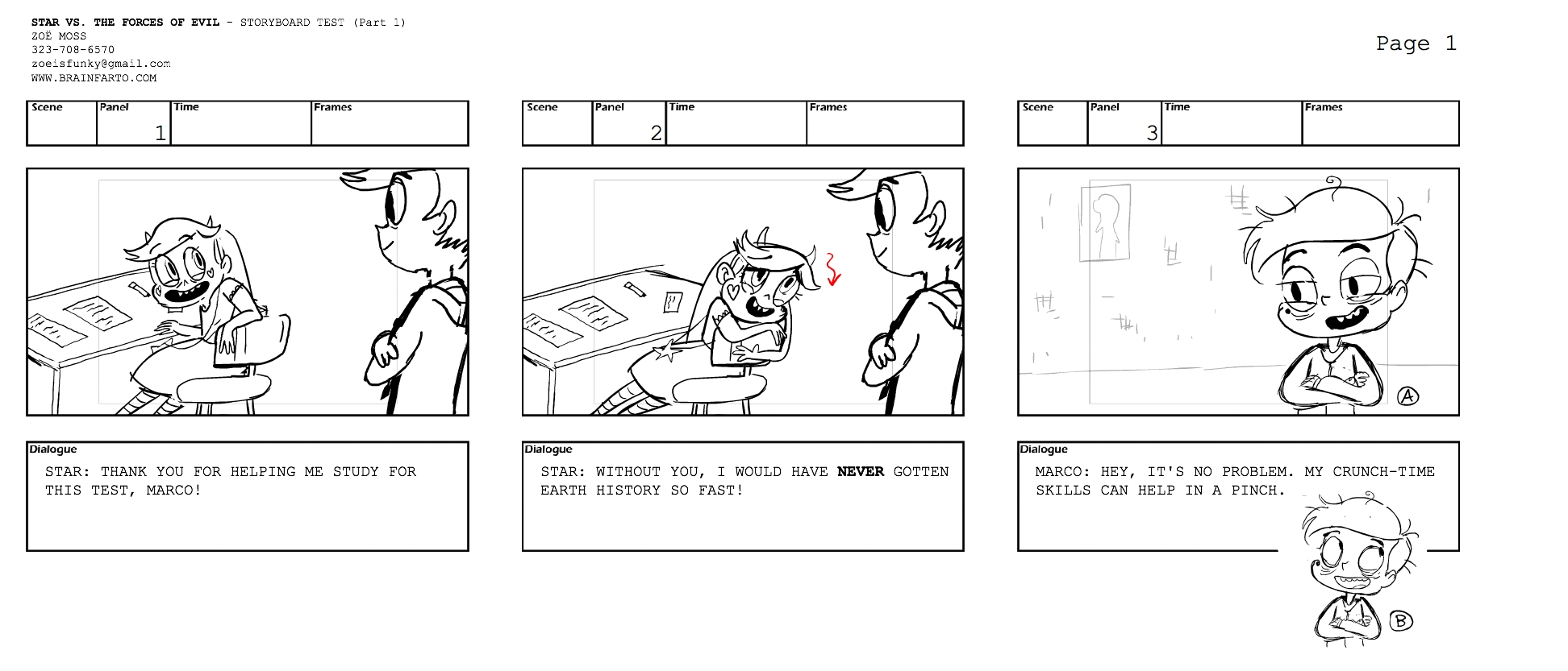 Star Vs The Forces of Evil Storyboard Test